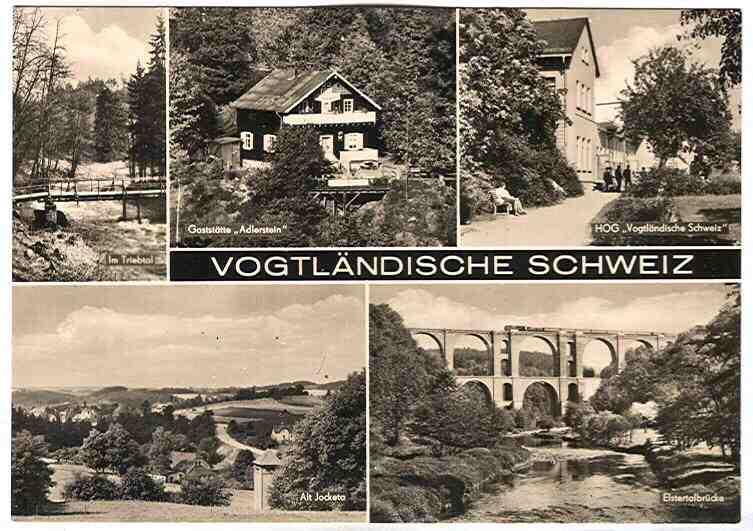 """Alte Ansichtskarte/AK/Postkarte: Vogtländische Schweiz (Gaststätte """"Adlerstein"""", HOG """"Vogtländische Schweiz"""", Alt-Jocketa u. a. m.)"""