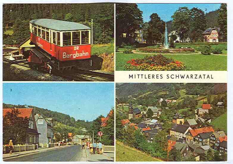 """Alte Ansichtskarte/AK/Postkarte: """"Mittleres Schwarzatal"""" (Obstfelderschmiede Bergbahn; Meuselbach-Schwarzmühle; Sitzendorf; Mellenbach-Glasbach"""