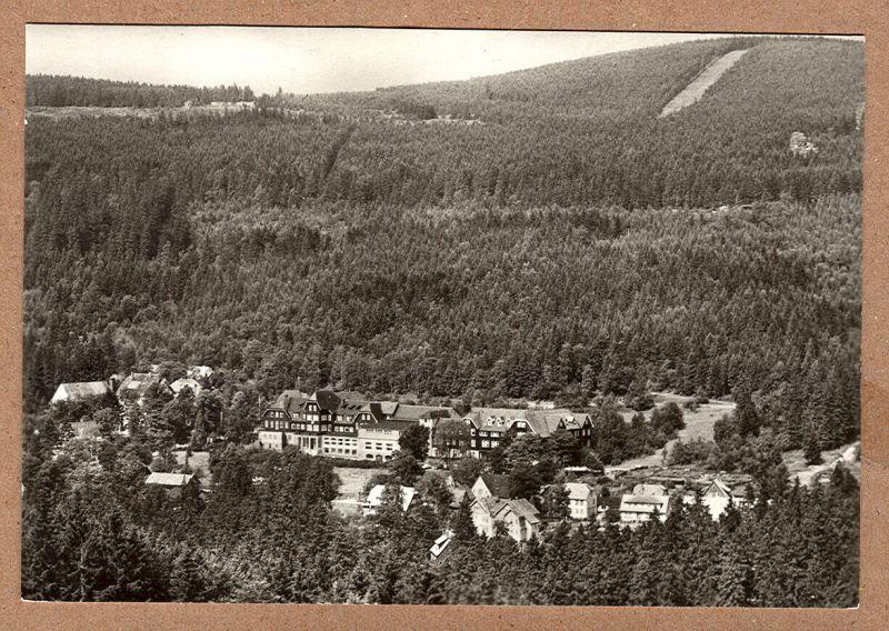 """Alte Ansichtskarte/AK/Postkarte: Schierke (Harz) - Hotel """" Heinrich Heine """" - Reisebüro der DDR"""
