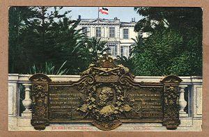 Alte Ansichtskarte/AK/Postkarte: Un Saluto di San Remo - Villa Zirio / Gedenktafel Verband Deutscher Kriegsveteranen
