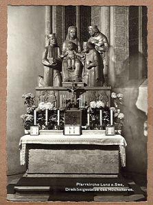 Alte Ansichtskarte/AK/Postkarte: Pfarrkirche Lunz am See - Dreikönigsstatue des Hochaltars