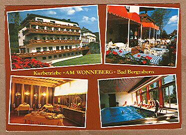 "Alte Ansichtskarte/AK/Postkarte: Kurklinik Bad Bergzabern - Kurhotel ""Am Wonneberg"""