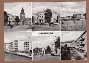 Alte Ansichtskarte/AK/Postkarte: Sternberg: Karl-Liebknecht-Platz, Rathaus, Bad und Konsum Strandgaststätte, Polytechnische Oberschule, Karl-Liebknecht-Platz, Neubauten an der Leonhard-Frank-Straße