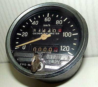 Oldtimer Tachometer mit Eichmarken Schlüssel Wegstreckenzähler VDO Tacho