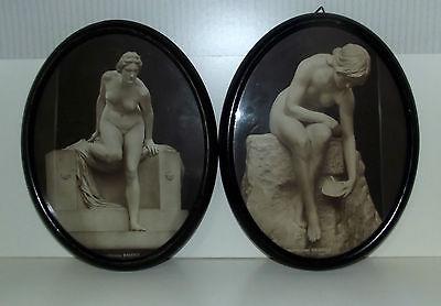 2 Ovale Holz Bilderrahmen mit Akt Kunst Bilder Die Badende - Die Quelle Dreden