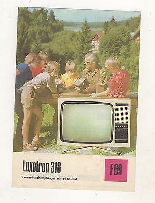 DDR Reklame Blatt Technische Daten Luxotron 318 Fernsehempfänger 61 cm Bild