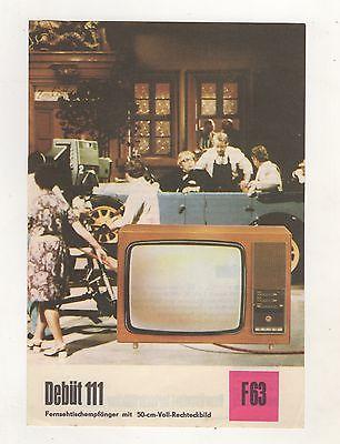 DDR Reklame Blatt Technische Daten Fernseh  Debüt 111 RFT Strassfurt