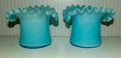2 Antike Wellenrand Jugendstil Vasen blau 8 cm