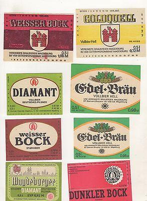 K- 2 / Uralte Brauerei Etiketten aus Magdeburg Brauerei Diamant 8 Stück