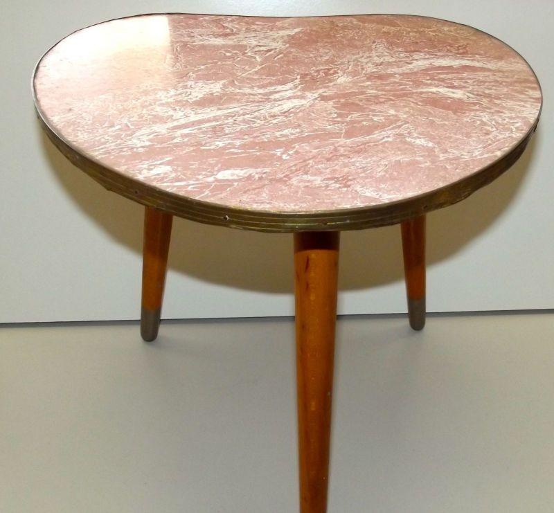 Beistelltisch Nierentisch 60 er Tisch 50er Hocker Holz Tischchen Blumenbank