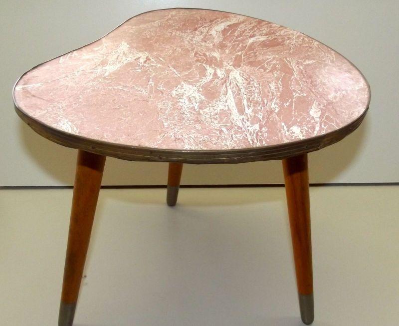 Beistelltisch Nierentisch 60 er Tisch 50er Hocker Holz Tischchen Blumenbank 2