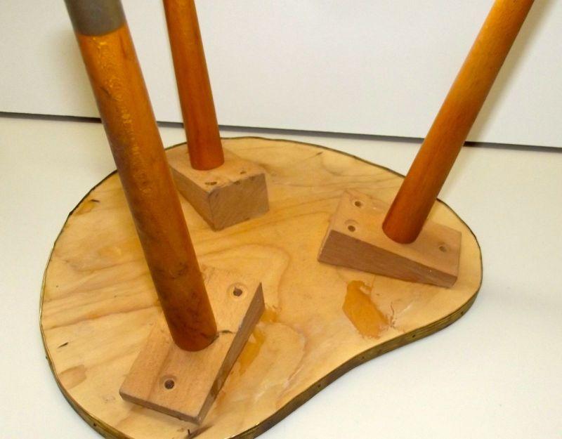 Beistelltisch Nierentisch 60 er Tisch 50er Hocker Holz Tischchen Blumenbank 3