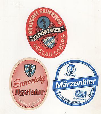 K- 2 / Uralte Brauerei Etiketten aus Oeslau Rödental Brauerei Sauerteig Coburg