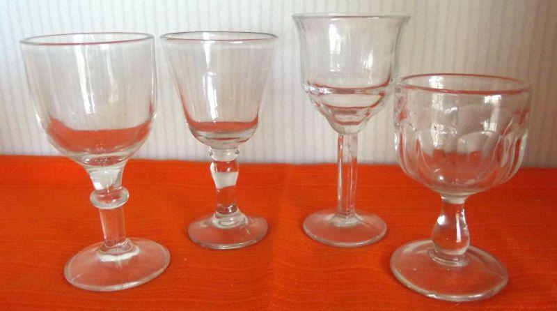 Konvolut von 4 antiken Weingläser Weinglas Antik Glas