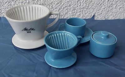 Konvolut Melitta Filter 101 4 Loch und Kinder Service Teile Blau 60er Jahre Kult