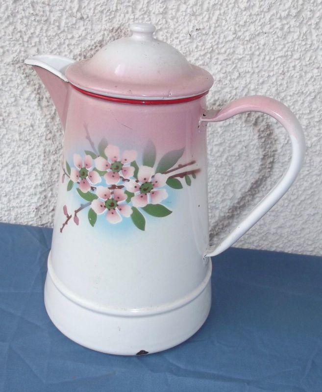 Antike Email Kanne Rosa Blumen Dekor Shabby Chic Emailkanne Kaffeekanne