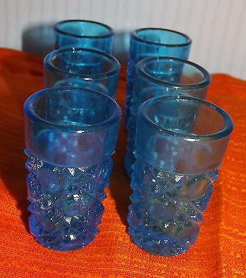 6 antike Pressglas Schnapsgläser Blau