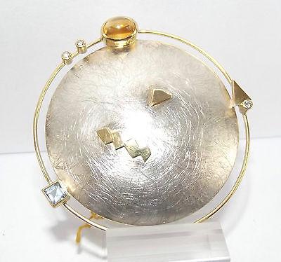 Design 925er Silber 750 Gold Brosche aus Juweliernachlass Goldschmiedearbeit