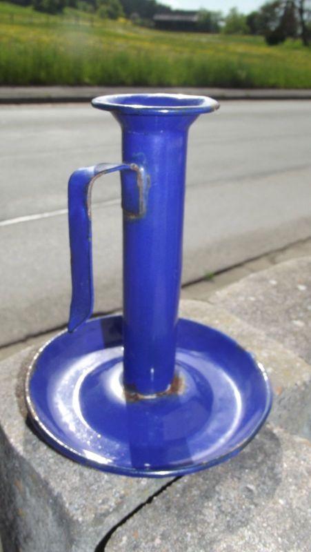 Antiker Email Kerzenhalter Blau mit Schieber und Tropfschale
