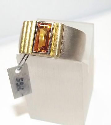 Citrin Ring 750er Gold mit 925er Silber Juweliernachlass Goldschmiedearbeit