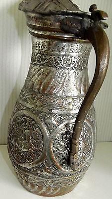 Ungewöhnliche Kupfer Karaffe Wasserkanne wohl Asien 40 cm hoch 3