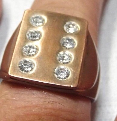 Vintage Kupfer Ring mit Zirkonia Steinen 50er Jahre