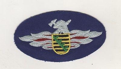Uniform Aufnäher Patches Brustabzeichen Feuerwehr Sachsen gewebt Silber Wappen