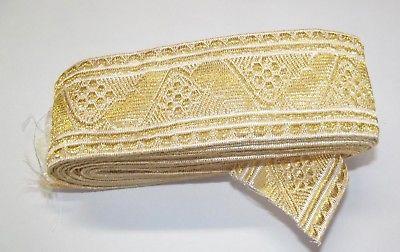 Wunderschöne Antike Trachten Litze Tresse Bordüre Borte Gold 5 Meter x 50 mm