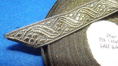 Antike Trachten Litze Tresse Bordüre Borte Gold / Grün 25 Meter x 20 mm