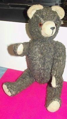 Alter Teddybär Schwarz Gelenke Holzwolle Glasaugen 49 cm
