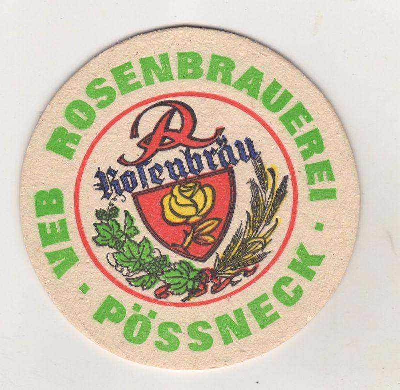 Alter Bierdeckel VEB Rosenbrauerei Rosenbräu Pössneck Thüringen