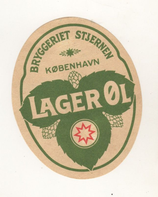 Bier Etikett Dänemark Danmark Bryggeriet Stjernen Köbenhaven Frederiksberg +1964