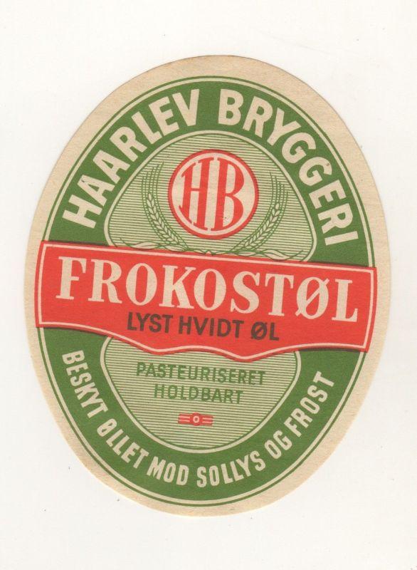 Bier Etikett Dänemark Kongeriget Danmark Haarlev Wolmer Nielsen + 1965 Bryggeryi