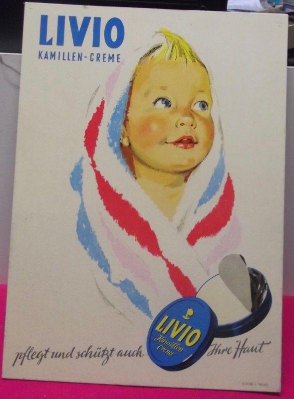 Original DDR Reklame Papp Verkaufsaufsteller Livio Kamillen Creme 60er Jahre