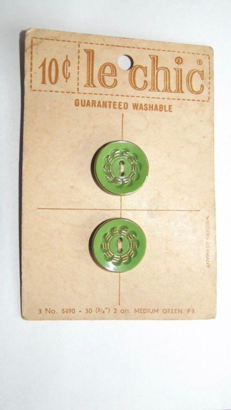 2 Knöpfe auf Palette Antik le chic um 1900 Grün