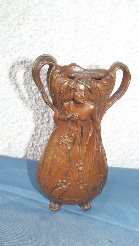 Metall Vase Jugendstil  16,5 cm Motiv beidseitig