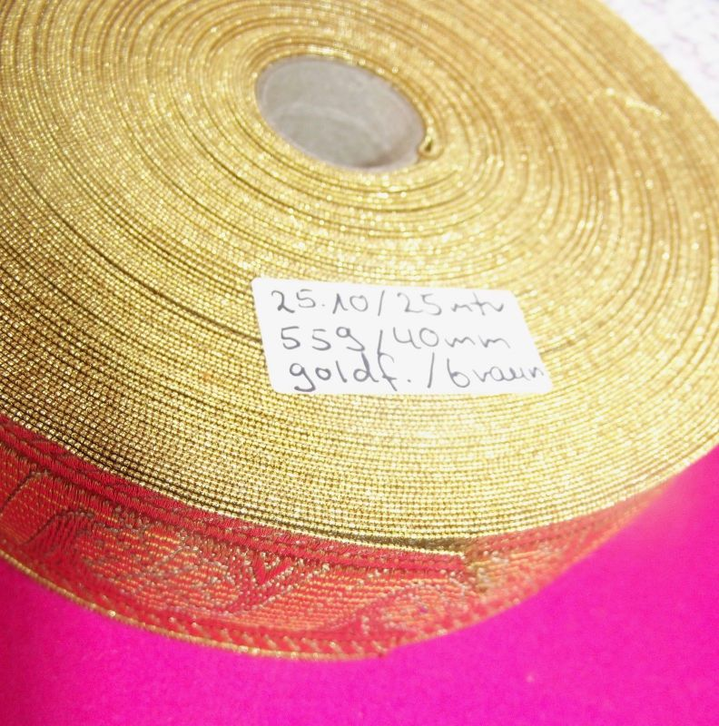 Gold Bordüre 25 Meter x 40 mm goldfarben / braun für Trachten