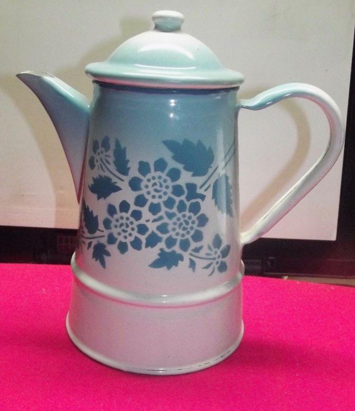 Antike Emaille Kaffeekanne Spritz Dekor Blumen Art Deco