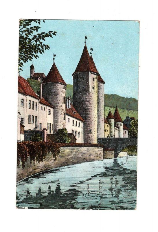 AK Oberpfalz Amberg Nabburger Tor gelaufen als Feldpost 1916