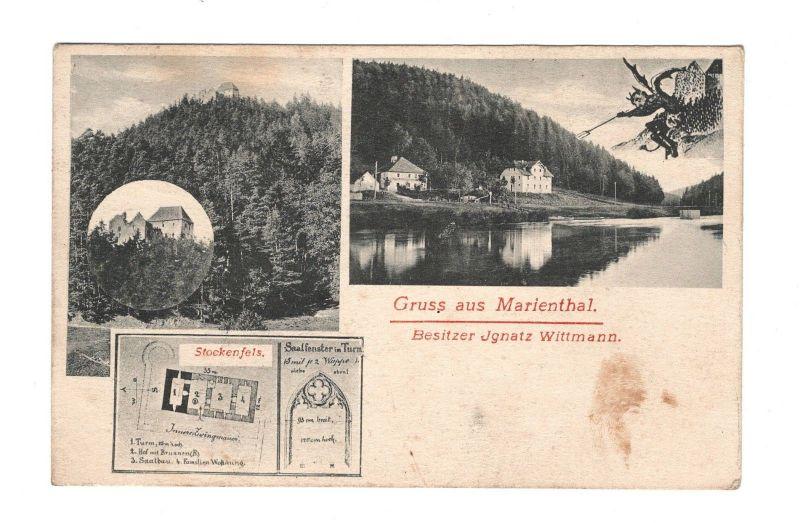 AK Oberpfalz Gruß aus Marienthal bei Regenstauf Gaststätte 1908