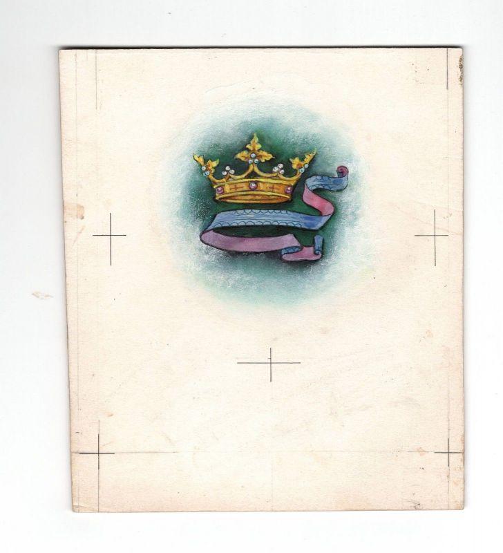 Goebel Aquarell Arbeitsmuster Janet Kennedy 1950 USA Krone Cronn Weihnachten