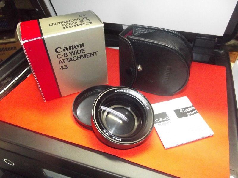 X - Canon C-8 Attachment 43 Lens Weitwinkelvorsatz komplett