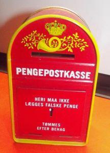 X - Blech Spardose Pengepostkasse Postal Letterbox Moneybox Denmark Danish