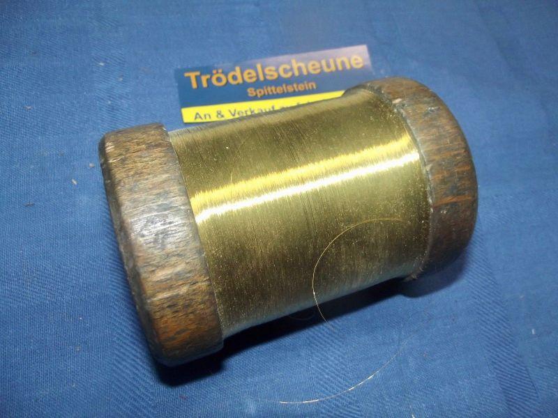 Antikes Gold Garn Gespinst auf Holzspule 1100 Gramm