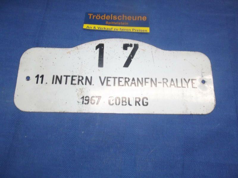 Original Blechschild Autoschild 11. Veteranen-Rallye 1967 Coburg Oldtimer