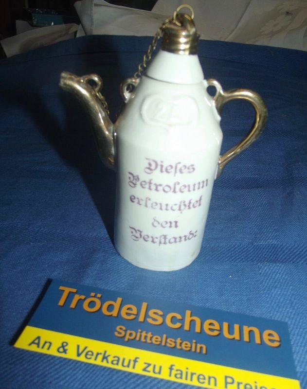 X- Antik Kleine Schnaps Flasche Nippes Dieses Petroleum erleuchtet den Verstand