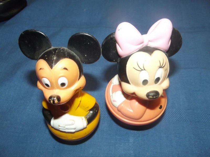 Stehaufmännchen Wackelfigur Disney Micky Maus & Minni Maus 70er Jahre