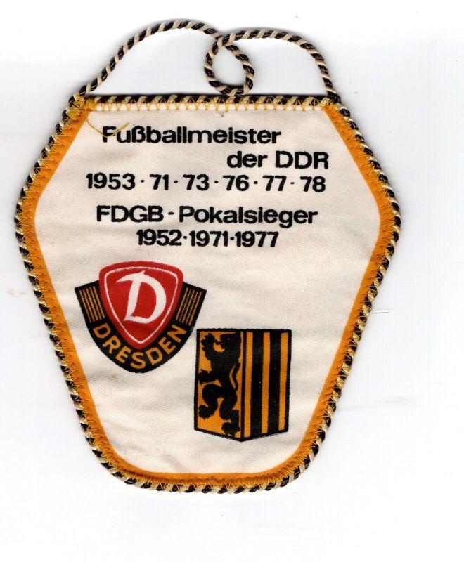 DDR Sport Wimpel Dynamo Dresden Fussball Meister der DDR FDGB Pokalsieger 1