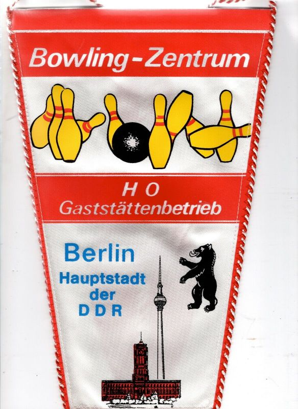 Sport Wimpel Bowling Zentrum HO Gaststätten Betrieb Berlin Hauptstadt der DDR
