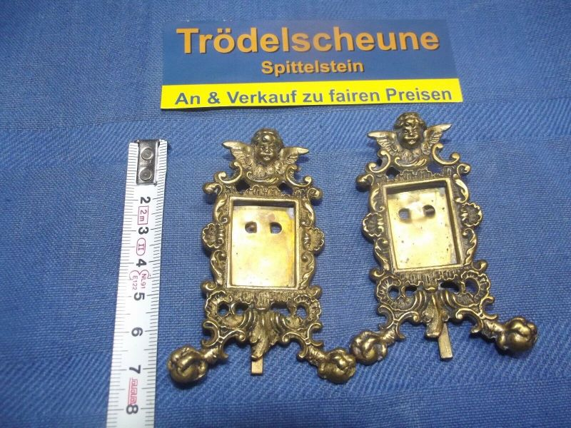 2 Antike Engel Miniatur Bilderrahmen Stand Rahmen Messing Antiquität